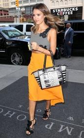 skirt,shoes,sandals,jessica alba,top,bag