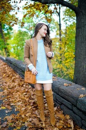 covering bases,curvy,blogger,sweater,jacket,skirt,shoes,blue sweater,celine bag,thigh high boots,fall outfits,blazer