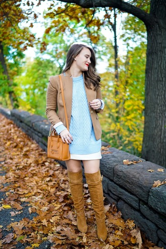 covering bases curvy blogger sweater jacket skirt shoes blue sweater celine bag thigh high boots fall outfits blazer