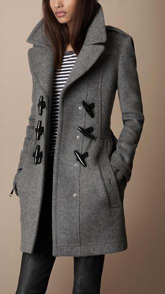 grey coat burberry duffle coat