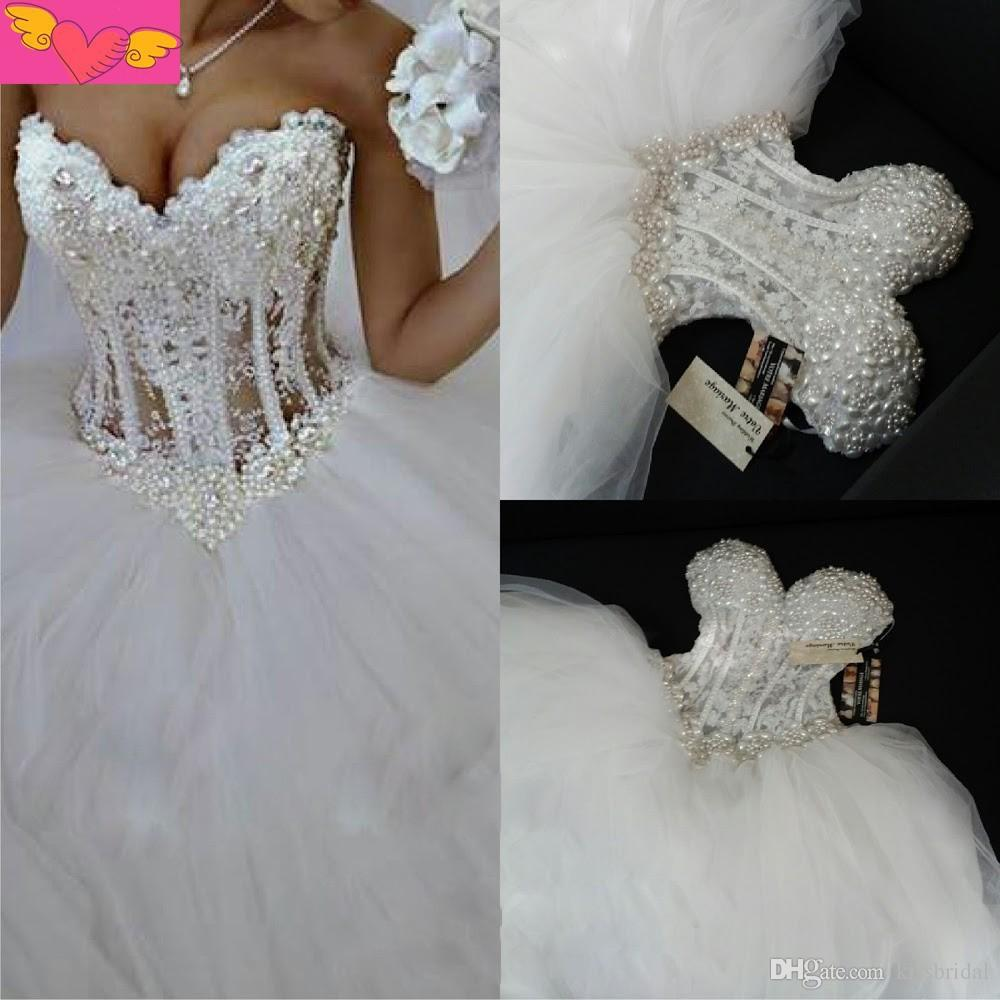 2015 Real Picture White Princess Ball Gown Wedding Dresses Sweetheart Pearls Beaded Lace See Through Corset Bodice