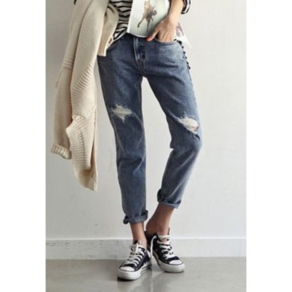 2013 Women Blue Western Fashion Jeans Loose Fit Boyfriend Jeans ...