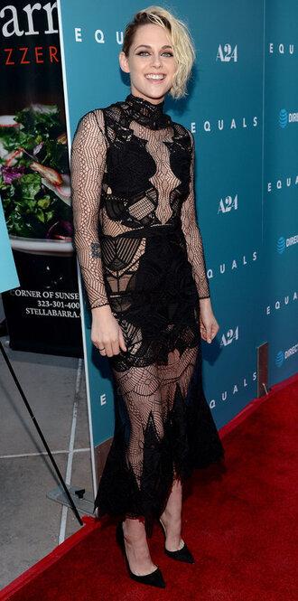 dress lace dress kristen stewart pumps black dress midi dress gown mesh dress see through dress