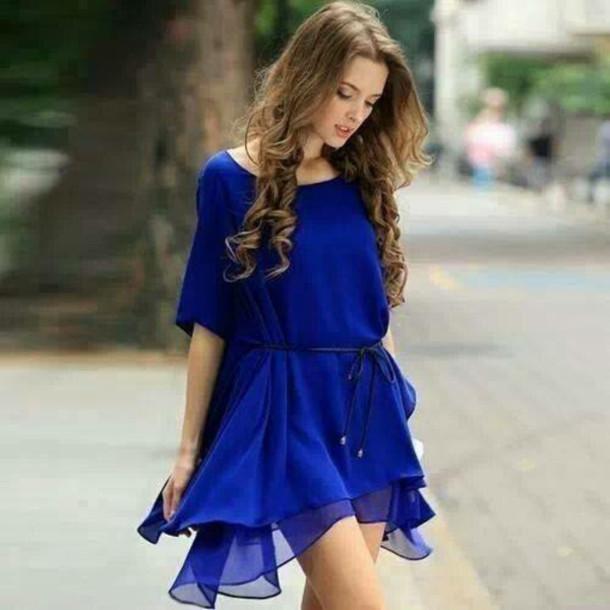 9855db2c6599 dress blue flowy dress short blue dress