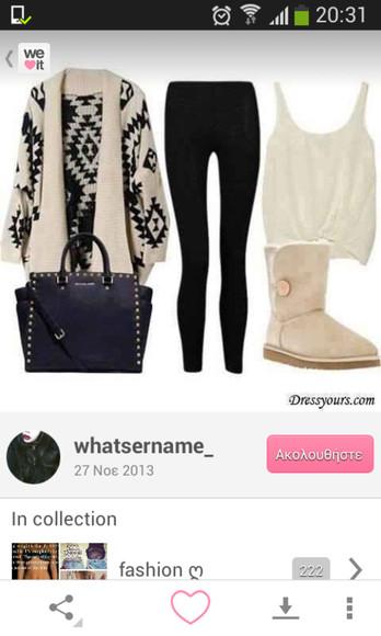 bag wool cardigan style black and white nice tribal cardigan