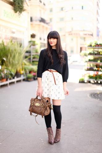 skirt shoes sweater bag the cherry blossom girl