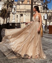 dress,gold dress,prom,wedding,gold sequins,rose,gold,rose gold,prom dress,long dress,glitter,hair,earrings,sparkle,cream dress,prom gown,long prom dress,v neck,tulle dress,sequins,vneck dress,formal dress,long gold dress,graduation dresses,sparkly dress,flow,flowy dress,flowy,graduation dress,glitter dress,glitter prom dress