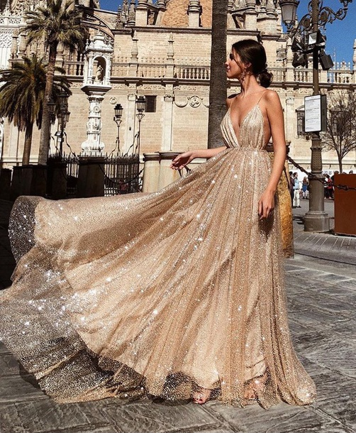 Dress Dress Gold Dress Prom Wedding Gold Sequins Rose Gold