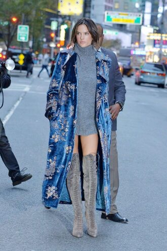 dress boots over the knee boots suede boots coat alessandra ambrosio sweater dress fall dress fall outfits fall sweater turtleneck sweater