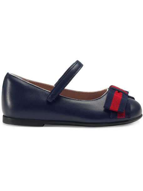 Gucci Kids bow leather blue shoes