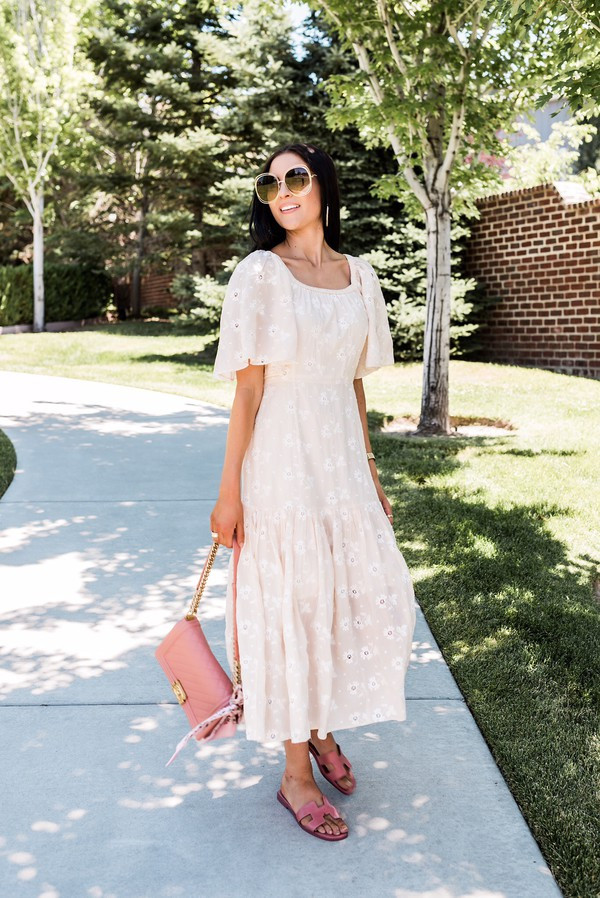 dress cotton slide shoes bag sunglasses maxi dress