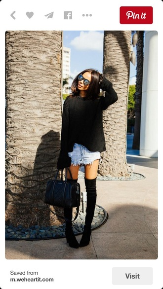 shoes black boots over the knee boots