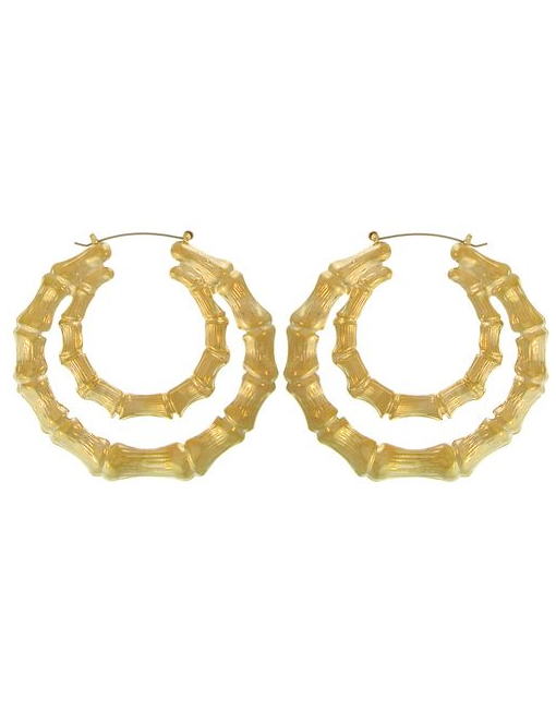 Double bamboo hoop earrings