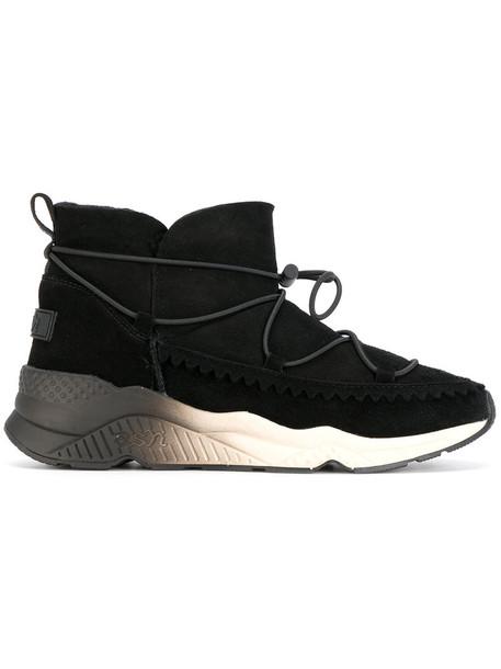women lace leather suede black shoes