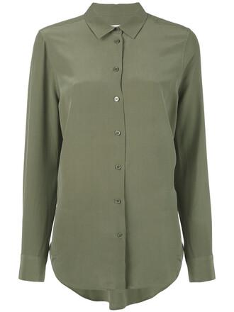 shirt long shirt long women silk green top