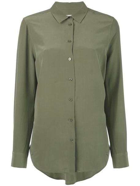 Equipment shirt long shirt long women silk green top