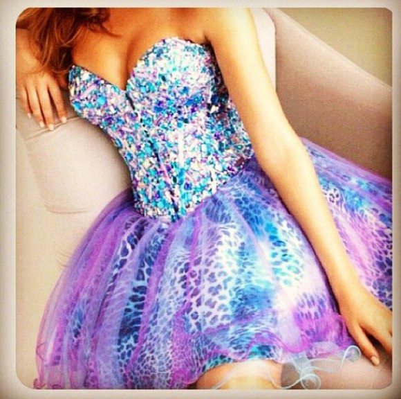 dress prom dress purple dress cheetah print turquoise rhinestones shortdress