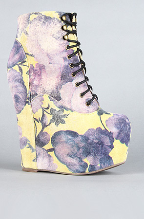 Jeffrey campbell the damsel shoe in yellow and purple floral : karmaloop.com