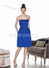 dress,satin,sleeveless,off the shoulder,strapless,draped,knee-length