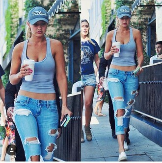 tank top gigi hadid blue shirt blue top ripped jeans crop tops white sneakers