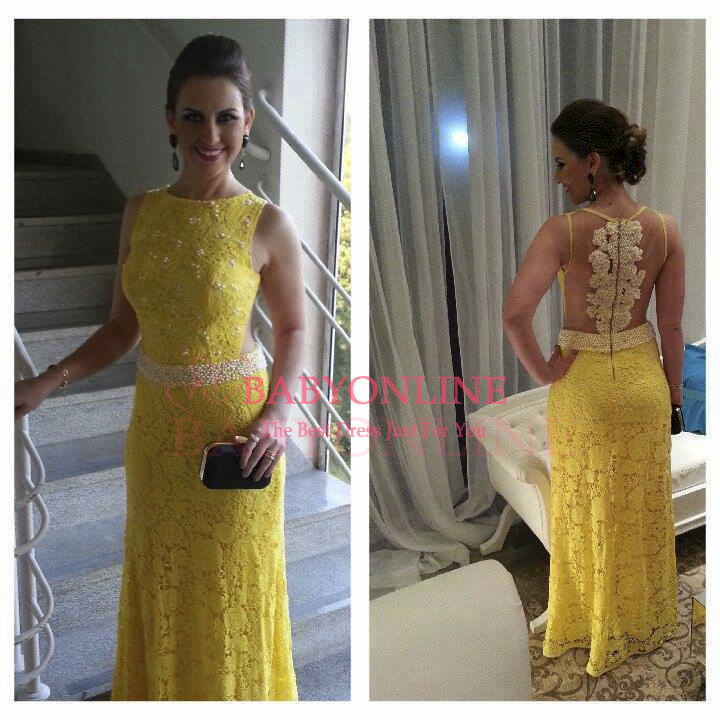 Aliexpress.com : Buy New arrivals high neck open back lace prom dress yellow a line evening formal dress 2014 BO2356 from Reliable dresses dress suppliers on Dress Just For You.