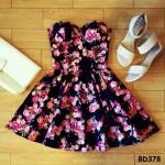 VINTAGE FLIRTY FLORAL BUSTIER DRESS