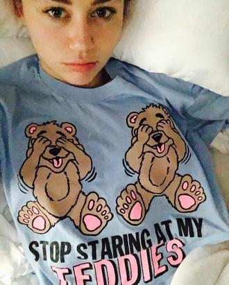 t-shirt blue teddies funny miley cyrus