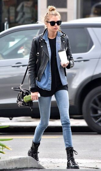 jacket jeans stella maxwell boots biker jacket top model off-duty streetstyle fall outfits