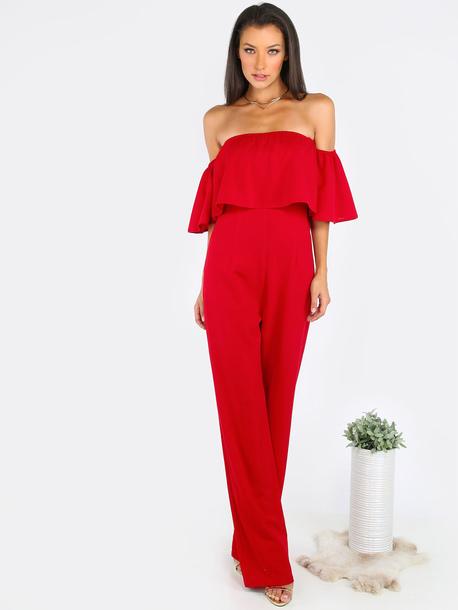 jumpsuit denim red off the shoulder