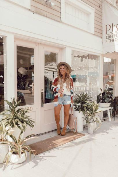januaryhart blogger tank top top cardigan shorts shoes hat bag