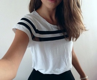 shirt black striped stripes black and white short sleeves short crop cute girl women stylish see through soccer jersey soft top lines light white t-shirt tee baggy blue navy sailor bracelets stripe tumblr clothes tumblr shirt white shirt sporty blouse