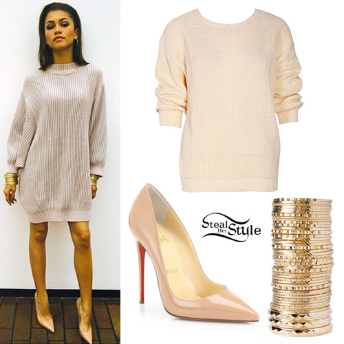 Zendaya: Sweater Dress, Nude Pumps | Steal Her Style