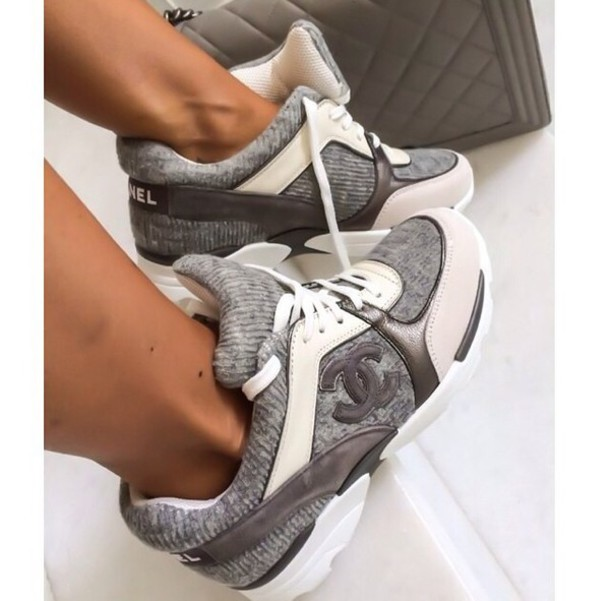 shoes grey sneakers designer sneakers chanel shoes channel trainers channel shoes pia mia perez chanel sneakers grey fab cute gry grey