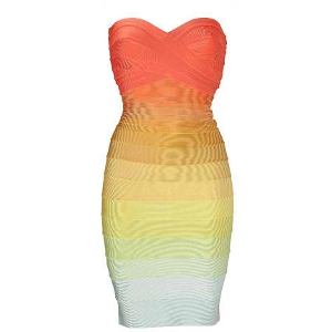 Herve Leger Rainbow Strapless Bandage Dress - Sale