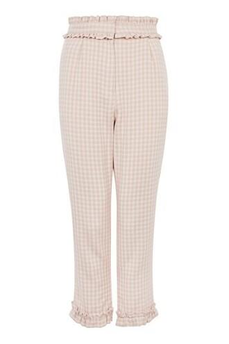 ruffle pale pink gingham pants