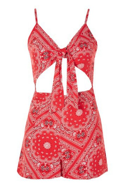 c438427429 TopShop Band Tie Front Playsuit - Red - Wheretoget
