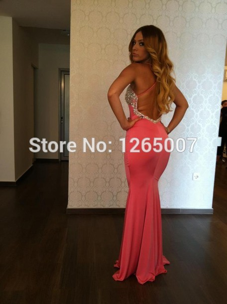 Aliexpress.com : Buy Sexy Fashion Spaghetti Traps Sweetheart Rhinestone Beaded Shiny Pink Open Back Mermaid Prom Dress Fashion Long Gowns from Reliable dresses halter suppliers on SFBridal