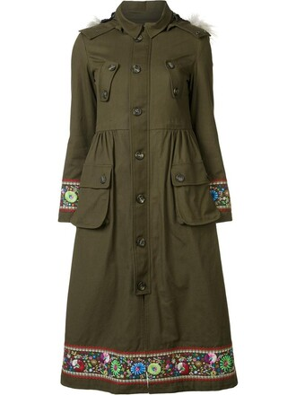coat embroidered fur faux fur women green