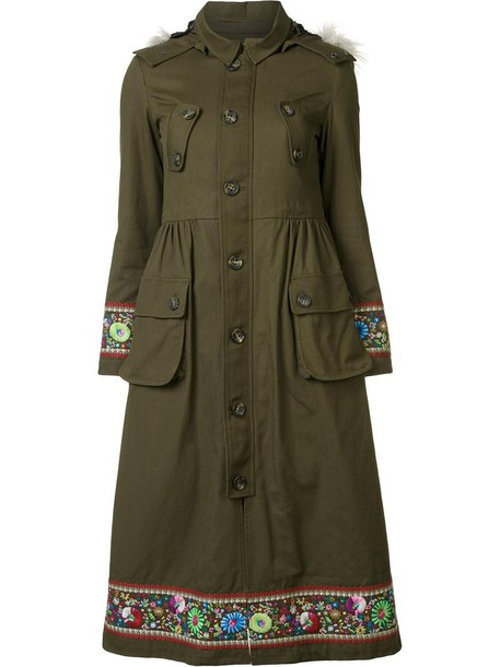 RED VALENTINO coat embroidered fur faux fur women green