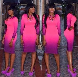 dress ombre purple midi dress bodycon dress pink