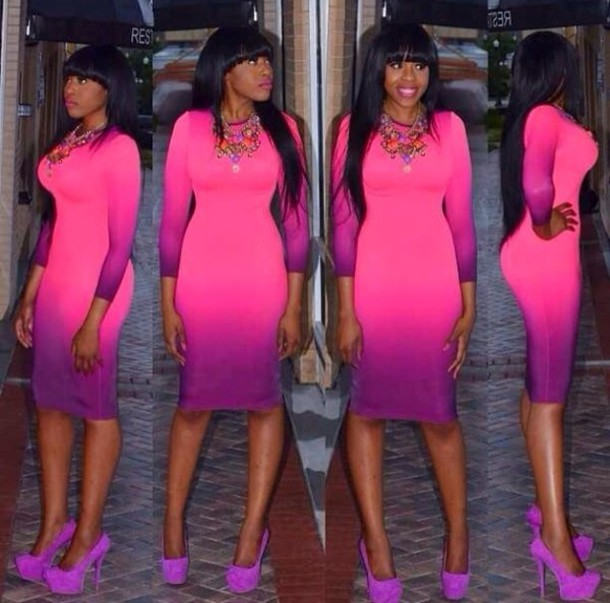 Dress: ombre, purple, midi dress, bodycon - Wheretoget
