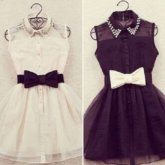 dress black white black and white strass noeud