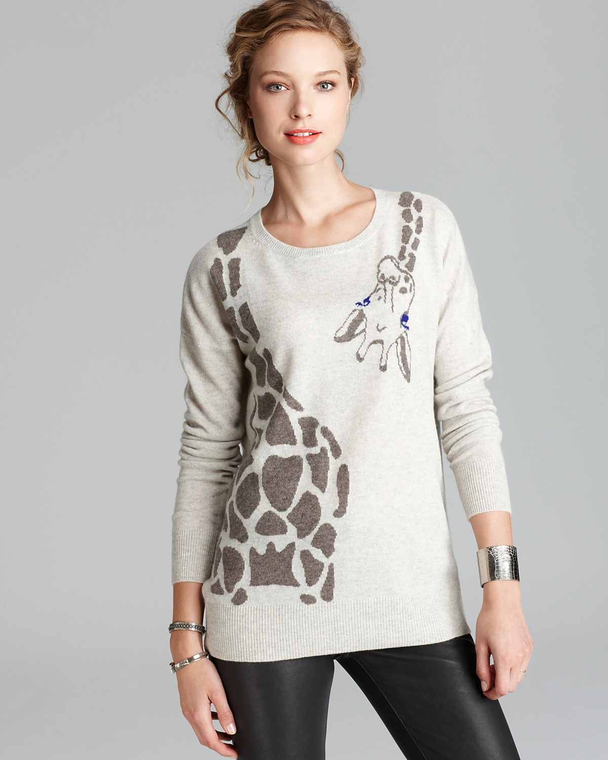 AQUA Cashmere Sweater - Giraffe Wrap Around Intarsia | Bloomingdale's