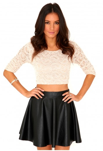 8bea5d68291979 Kaitlin Long Sleeve Lace Crop Top - tops - crop tops - missguided ...