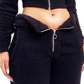 pants,sweats,joggers,fashion,fashion nova,pajamas,teddy bear,black,streetstyle,streetwear,twopeice,zip up,fleece