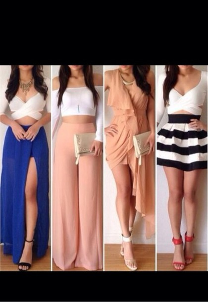 pink pants jumpsuit black and white mini skirt white top blue sirt wide-leg pants crop tops off the shoulder statement necklace top white crop tops skirt blue skirt shirt pants