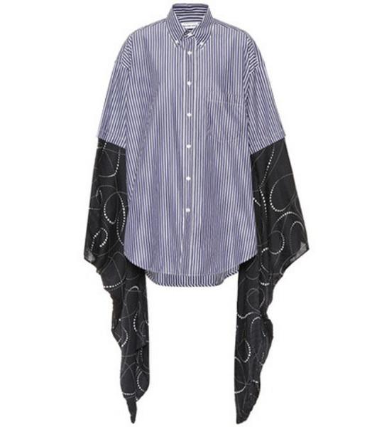 Balenciaga Kimono-sleeve cotton shirt in blue
