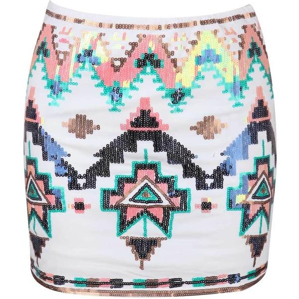 White Sequin Mini Skirt