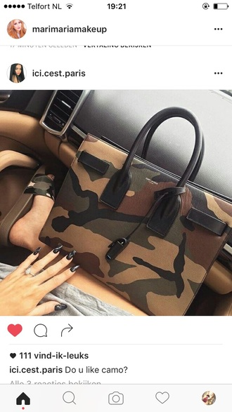 bag army green army print populair