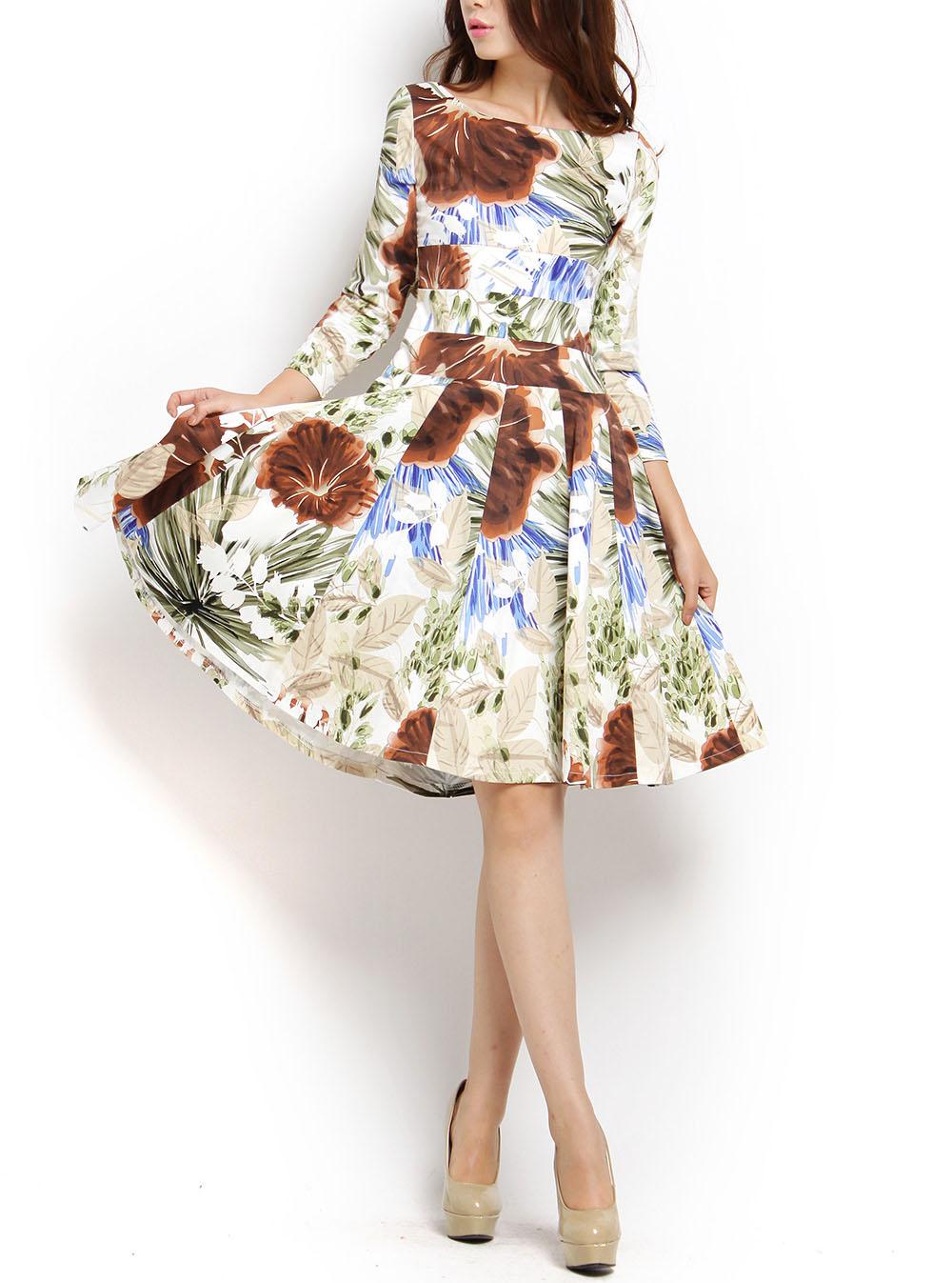 Fancy fashion slit neckline rustic flower three quarter sleeve ultralarge vintage elastic cotton one-piece dress | Amazing Shoes UK